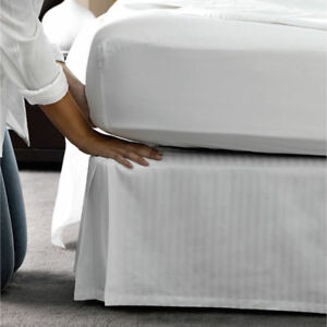 White Striped Bed Skirt Select Drop Length All US Size 1000 TC Egyptian Cotton