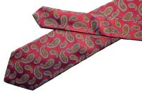 Etro tie Shiny red silk necktie with green and gray woven paisley pattern
