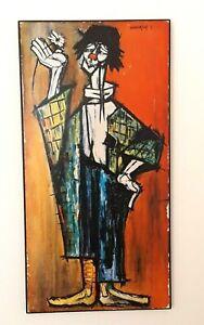 Rosy Fernandez-Diaz Vintage Painting Clown Avec Marguerite Signed Print on Wood