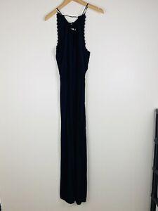 Faithfull The Brand Size 10 Jumpsuit Dark Navy Blue Black Lace Wide Leg Tie Back