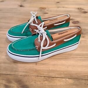 Sperry Top-Sider Mens Canvas  2 Eye Boat Shoe Size 8.5M US Green