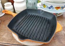 Orange Le Creuset Square Cast Iron Griddle Skillet Frying Pan 26cm Steak BBQ