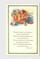 PPC POSTCARD THANKSGIVING WHITNEY WHITTIER POEM PUMPKIN WISHBONE EMBOSSED