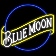 "New Blue Moon Beer Lager Bar Man Cave Neon Sign 17""x14"""