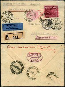 I778 Liechtenstein registered first flight cover Argentina Switzerland 1930