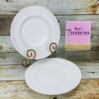 Crate & Barrel WHITE PEARL Bone China  Embossed Bead Salad Luncheon Plates Set 2