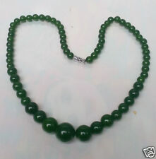 """Fashion Chinese Natural Green Jade Round Beads Jewelry Necklace 18"""""""