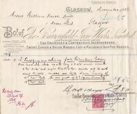 The Barrowfield Iron Works Limited Glasgow 1906 Engineers Stamp Invoice Rf 40983