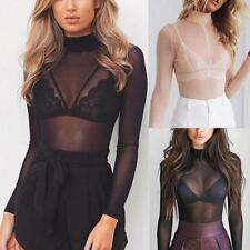 Women Sexy High Neck Transparent Mesh Sheer Crop Top T-Shirt Blouse Tee Tops