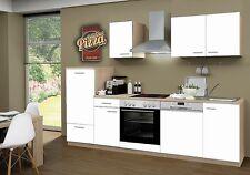 Küchenblock mit Glaskeramikkochfeld und Geschirrspüler Classic 270 cm in wei�Ÿ
