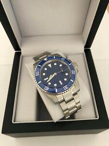 Men's Classic Blue Watch, Automatic Movement With Ceramic Bezel + Watch Box