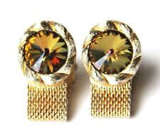 Vtg Swank Cufflinks Wrap Around Mesh Strap Rivoil Rhinestone Cuff Links