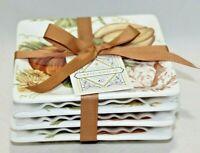 Grace Harvest Collection Acorn & Oak Porcelain Appetizer Plates Set of Four New