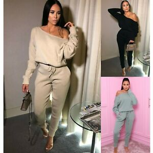 Womens Ladies Off shoulder Lounge Wear Tracksuit Set Casual Knitted Two Piece