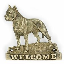 American Staffordshire Terrier - brass tablet with image of a dog, Art Dog Usa