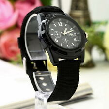 Unisex Men Women Luminous Quartz Wrist Watch Canvas Belt Army Sport Style LU