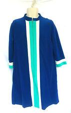 Vanity Fair Womens Sz 16 Housecoat Robe Front Zip Velour Color Block Vintage