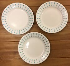 3 HOMER LAUGHLIN RESTAURANT BEST CHINA TURQUOISE BOWTIE DESSERT PLATES 6.25""