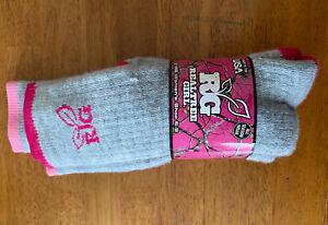 2 Pair Women's RG Realtree Girl All Season Boot Socks Size 9-11 Pink and Fuschia
