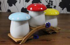 Ceramic Tea Coffee Sugar Jars-storage canisters & bamboo tray G1 mushroom design