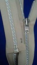 "VTG NOS Jacket Zipper 10x YKK JAPAN #8 Separating Metal Aluminum 24"" LIGHT BEIGE"