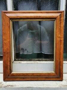 """ANTIQUE MAPLE WOOD WOODEN GOLD GILT PHOTO PICTURE FRAME 12"""" W X 13 1/2""""D"""