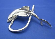Men's Extra Large Sterling Silver Great White Shark Fish Hook Pendant Necklace