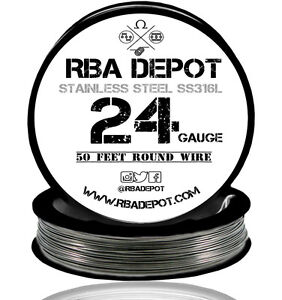 RBA Depot Stainless Steel SS 316L Competition Resistance Wire 24 Gauge AWG 50ft