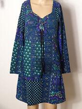 Kleid Gr. S blau-grün-bunt knielang Muster Empire Kleid aus Spanien NEU