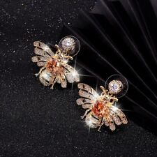 Exaggerated Honey Bee Stud Earrings 925 Silver Fashion Women's Jewelry Gift