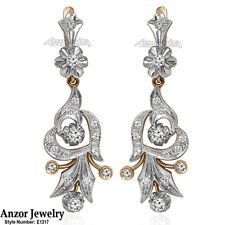 Russian Style Genuine Diamond Earrings in 14k Rose and White Gold 585 #E1317