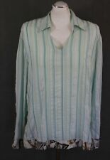 JUST CAVALLI Mens Green Striped Open Collar SHIRT - Size XXL - 2XL ROBERTO