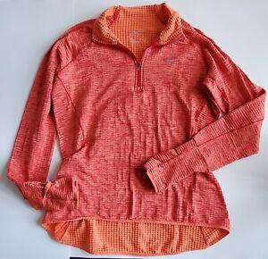 Nike Pro Women's Medium Half Zip Dri-Fit Sweatshirt Orange Active (71-33)