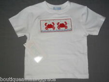 Smocked Tee SHIRT CRABS size 3T Boys or Girls Vive La Fete beach unisex summer