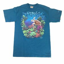 Vintage Stitch Art Shirt Embroidered Turtle Underwater Reef Art Sz M T-shirt 96