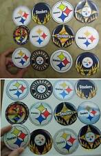 12 PITTSBURGH STEELERS ROUND STICKERS GLITTER OR GLOSSY