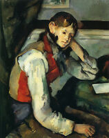 Oil painting Paul Cézanne - Boy in a Red Waistcoat seated by desk