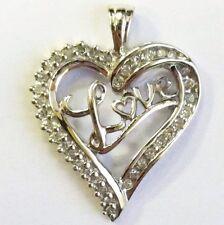 """JWBR 10K White Gold Heart """"Love"""" Pendant 36 Diamonds"""