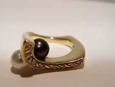 Impressive Diamond and Pearl Gold designer ring. One of a kind!~