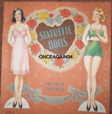 Vintage Uncut 1946 Statuette Dolls Paper Dolls Pat & Polly~#1 Reproduction~Rare!