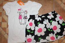 NWT Gymboree Daisy Park 5T Set Best Friends Top Shirt Top Black Flower Skirt