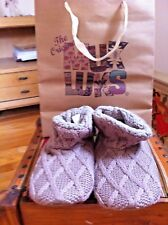 Muk Luks Women's Knit Slippers/Boots size Small(5-6) Vanilla- with Shop Bag New