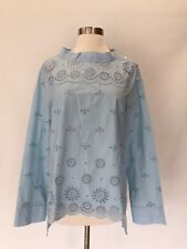 New J.Crew Tall Funnelneck shirt top blouse in eyelet Misty Blue Size 4T 4 H7574
