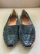 Toms Black Leather Huarache Flats Sandals US 9 M