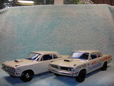 1/18 TWO EA. 1963 PONTIAC SUPER DUTY  IN WHITE &WHITEGRAPHICS BY HIGH WAY 61.