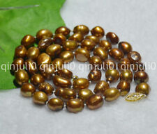 """9-10mm Real Natural Brown Freshwate Baroque Pearl Necklaces 18"""" 14K JN754"""