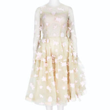 Simone Rocha Nude Pale Pink Embroidered Tulle Dress UK6 IT38
