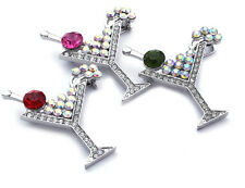 Red Pink Olive Green Cherry 3 Martini Cocktail Glass Brooch Pin Jewelry Set sp8