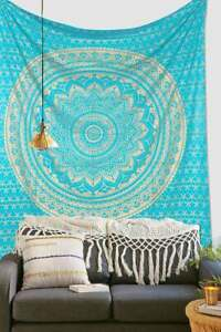 Indian Green Gold Ombre Mandala Wall Hanging Decor Tapestry Queen Bedding Hippie