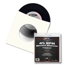 7 Inch Vinyl Single (45RPM) Paper Record Sleeves, Polylined with hole, 50 pack